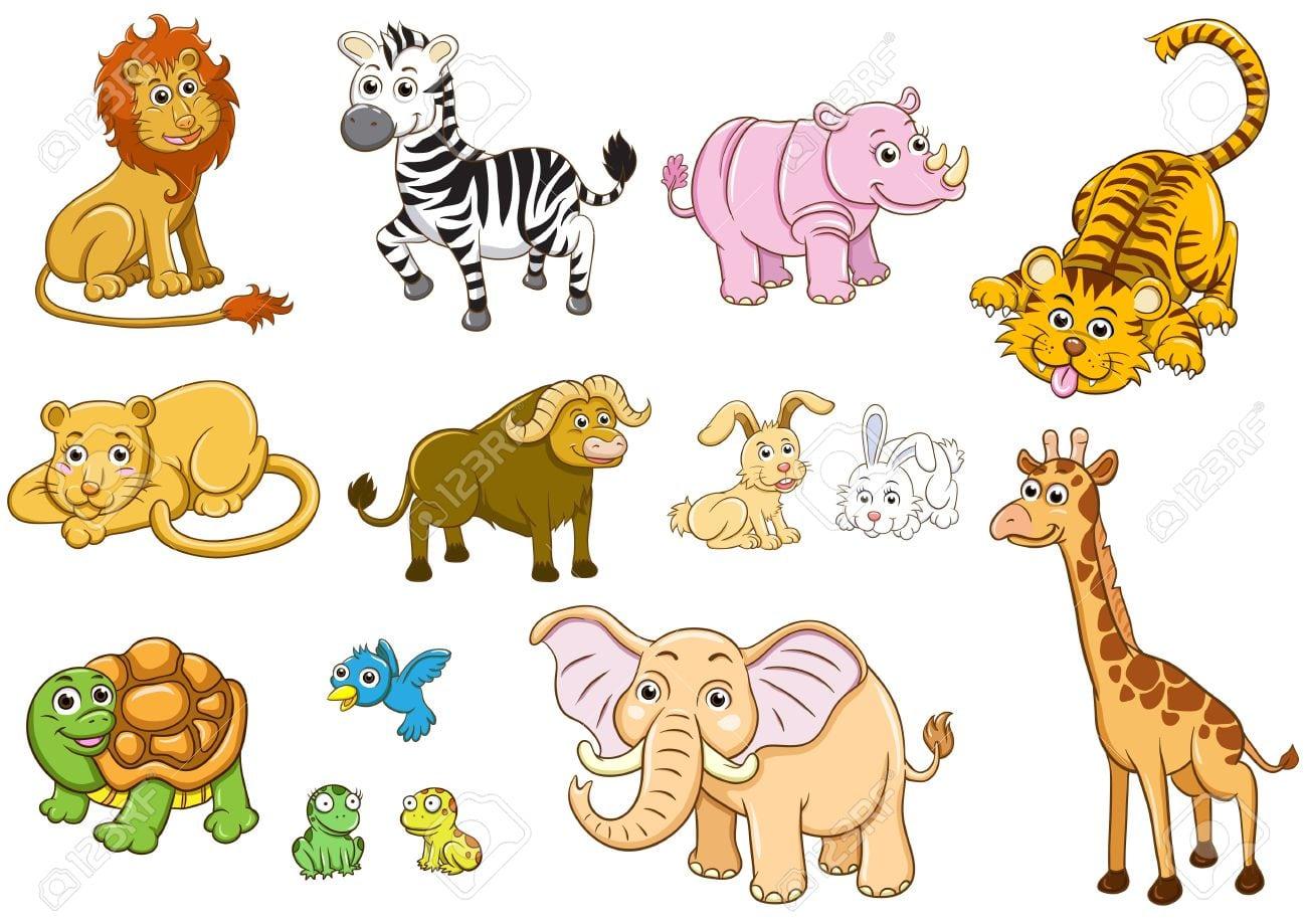 Conjunto De Ilustração Dos Desenhos Animados De Animais Foto