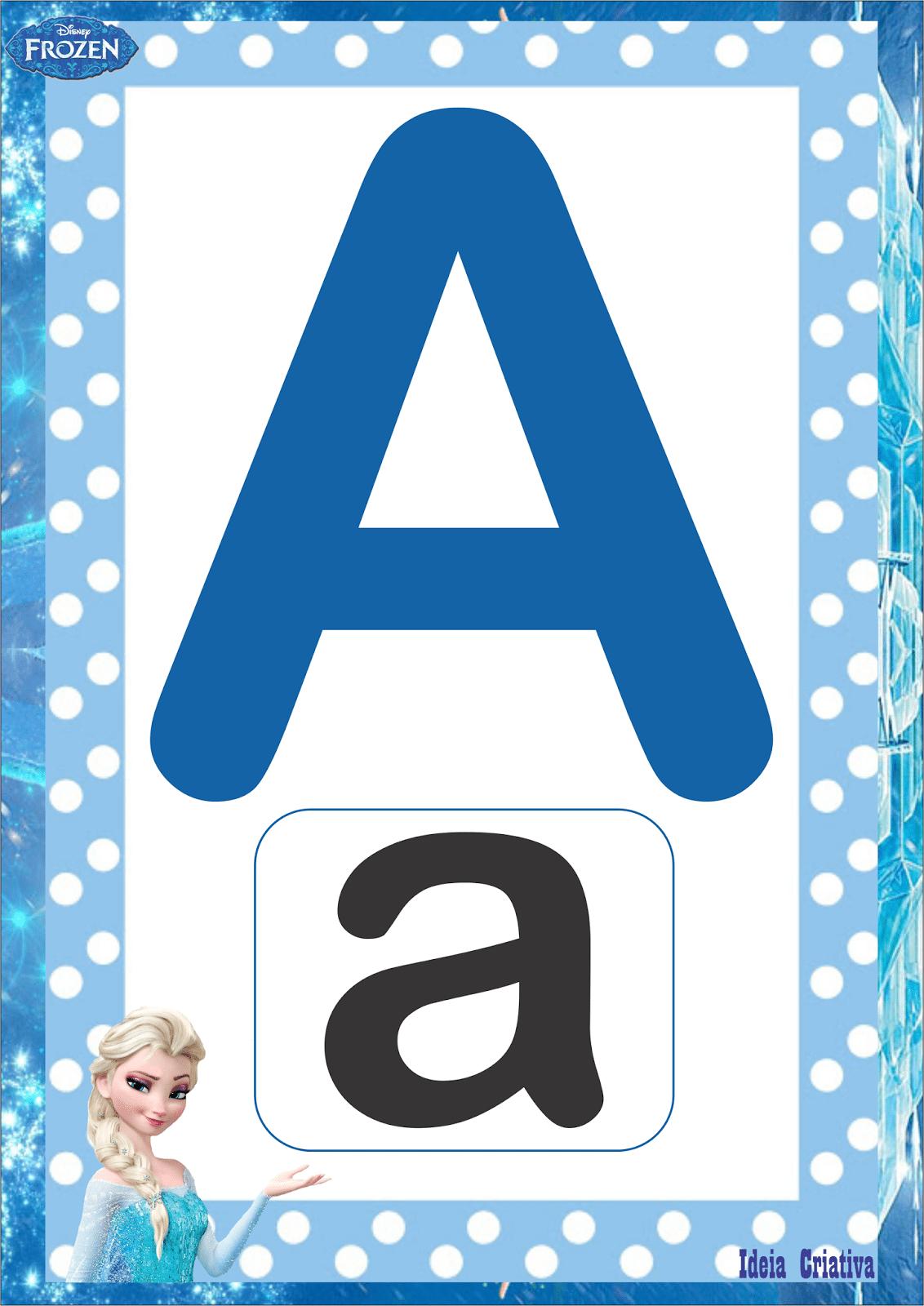 Alfabetos Ideia Criativa  Alfabeto Frozen Sem Figuras Letra Bastão
