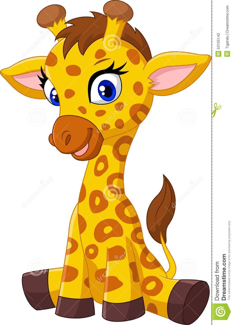 Assento Do Girafa Do Bebê Dos Desenhos Animados Ilustração Do