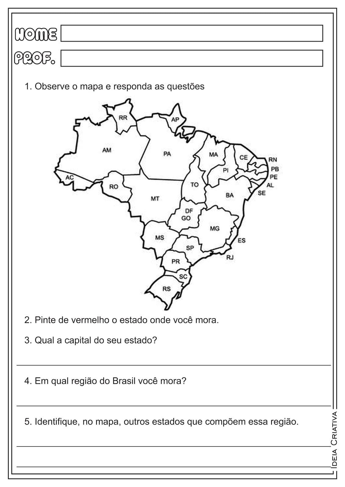 Mapa Político Do Brasil Para Colorir