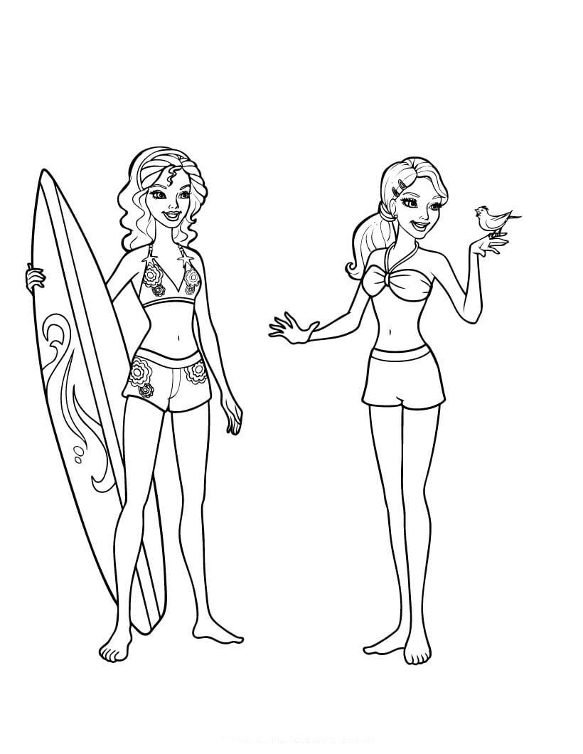 Desenho De Barbie E Amigas Indo Surfar Para Colorir