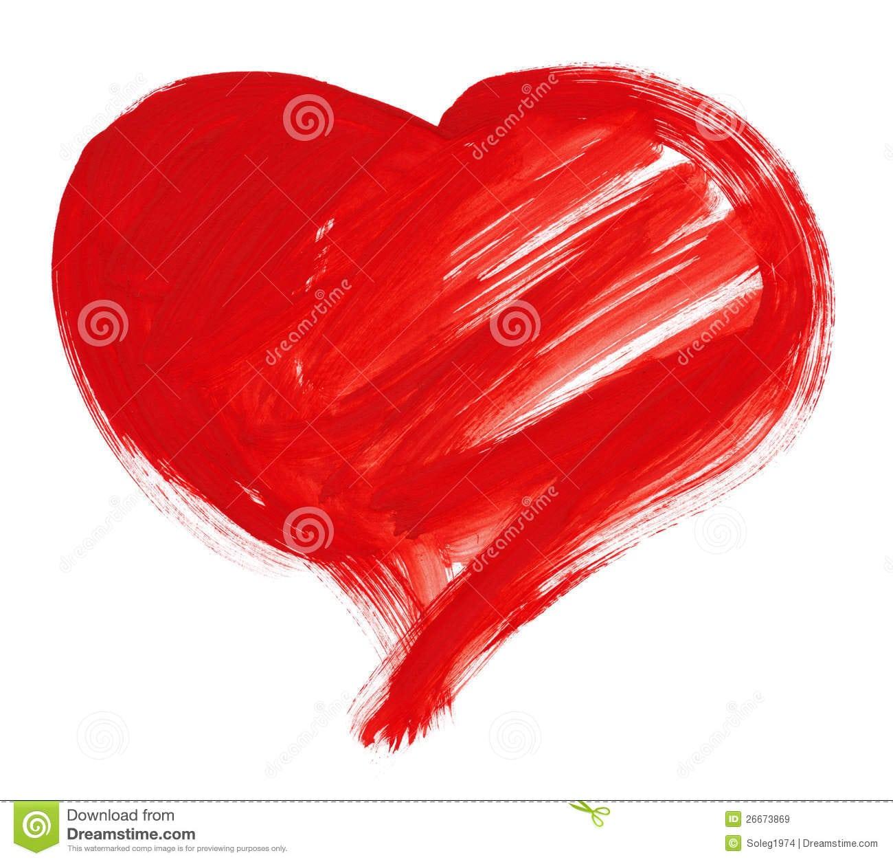 Forma Grande Vermelha Do Coração Desenho Ilustração Stock