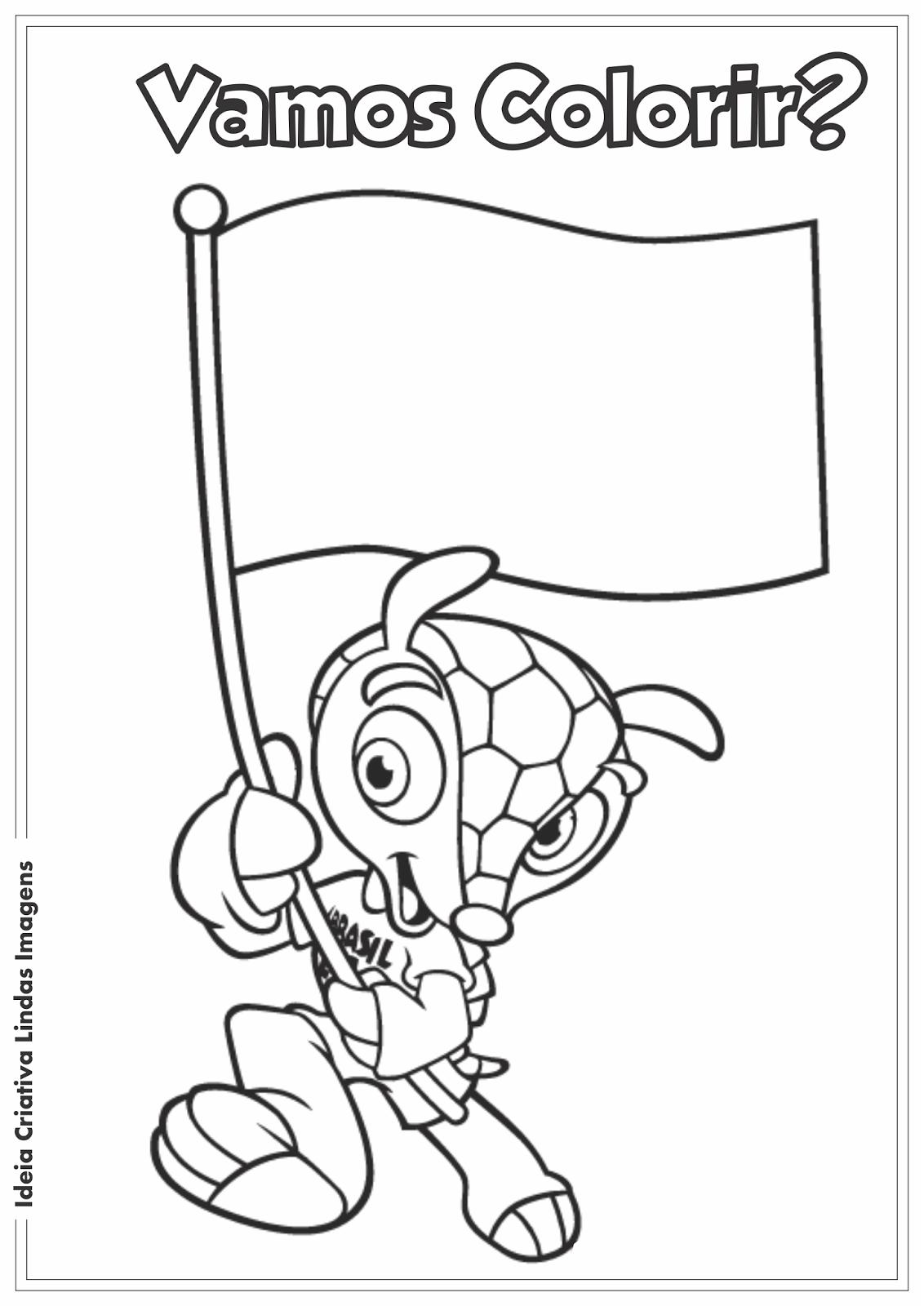 Fuleco Mascote Da Copa 2014 Pra Colorir