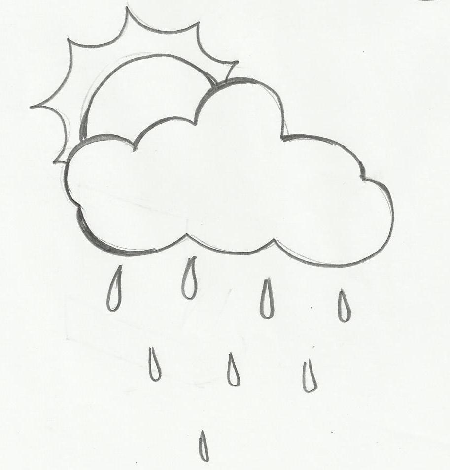 Desenho De Sol, Nuvem E Chuva Para Colorir – Pampekids Net