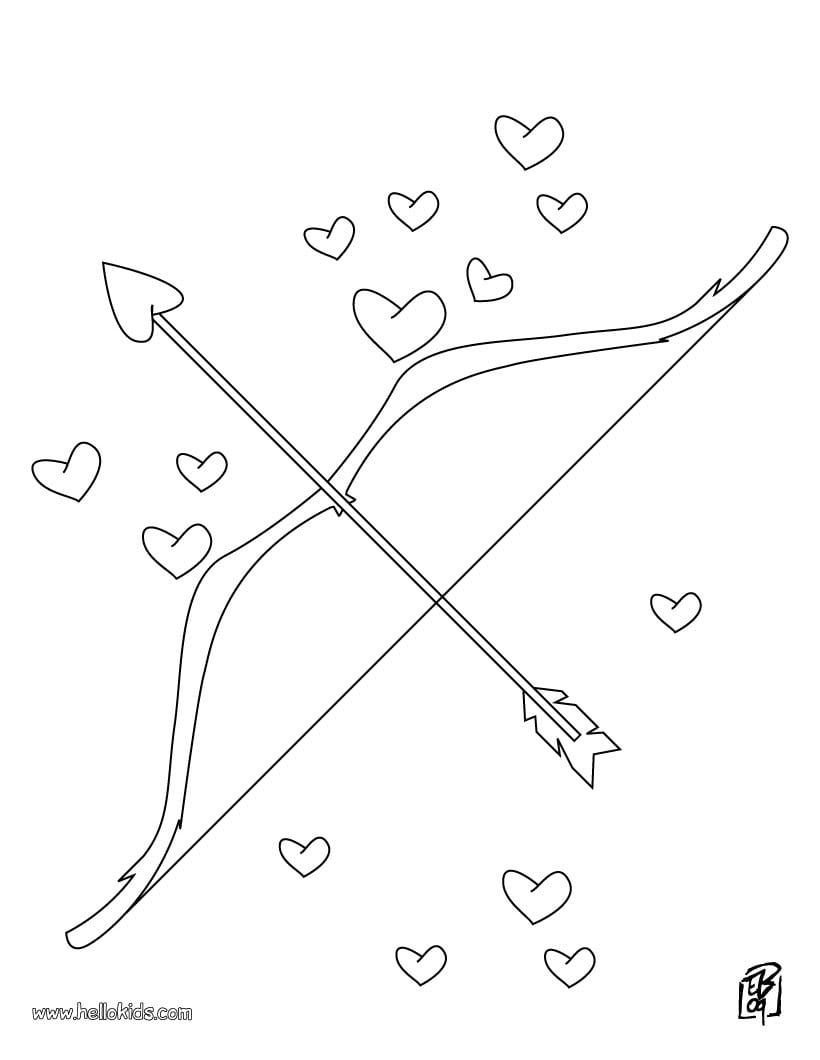 Desenhos Para Colorir De Desenho Do Arco E Flecha Do Cupido Para
