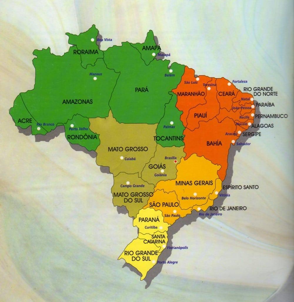 Mapa Do Brasil Colorido Para Imprimir Coloring City