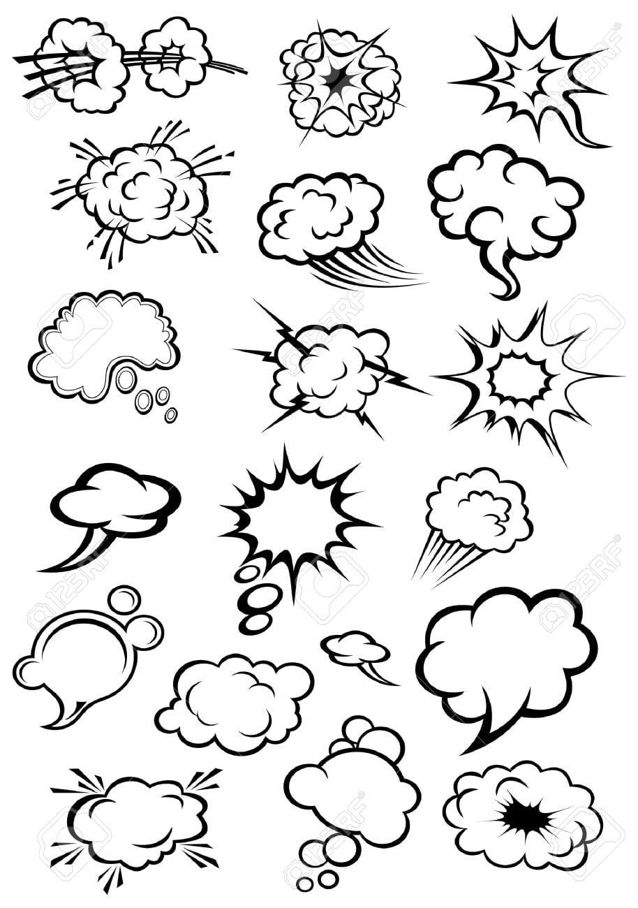 Bal Es De Fala Dos Desenhos Animados E Explos O Nuvens No Estilo