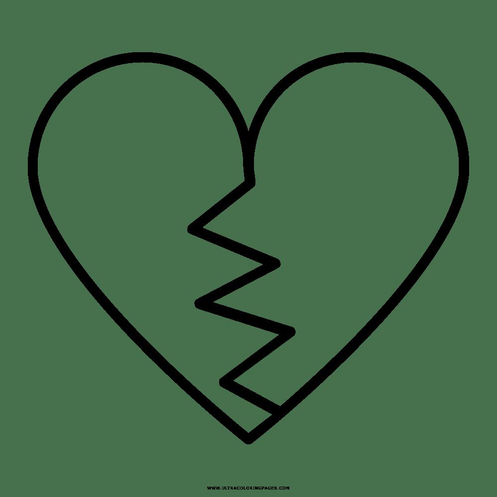 Coração Partido Desenho Para Colorir