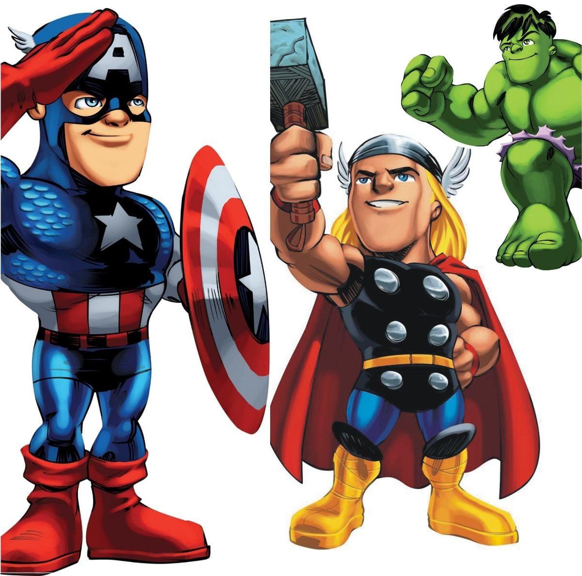 Adesivo Infantil Hulk Thor Homem Aranha Capitão América