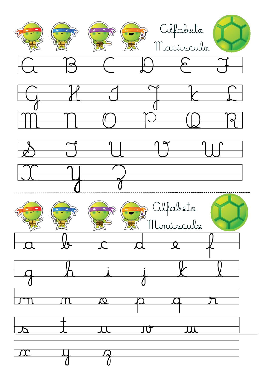 Alfabeto Letra Cursiva Maiúscula E Minúscula Tartarugas Ninjas