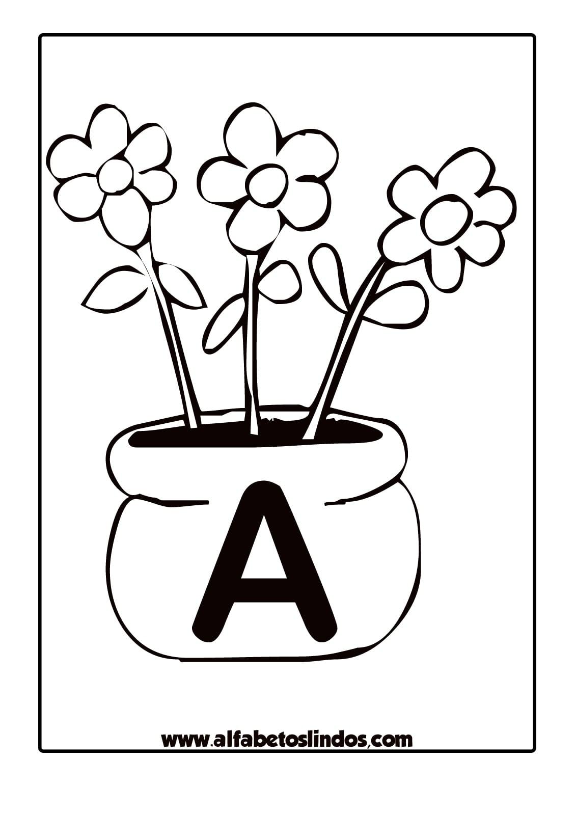 Jogo Alfabeto Primavera Flores Nos Jarros Para Colorir, Pintar