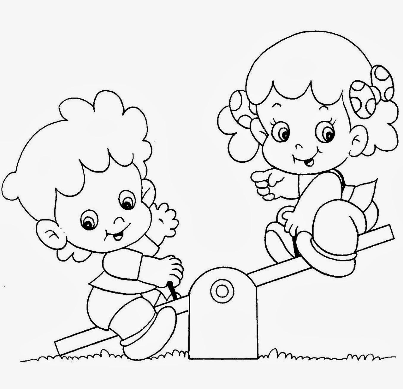 Desenhos Para Colorir De Criancas Brincando