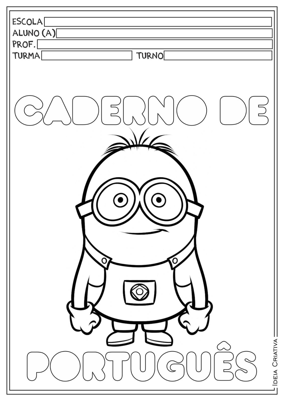 Desenhar E Colorir Capa De Caderno