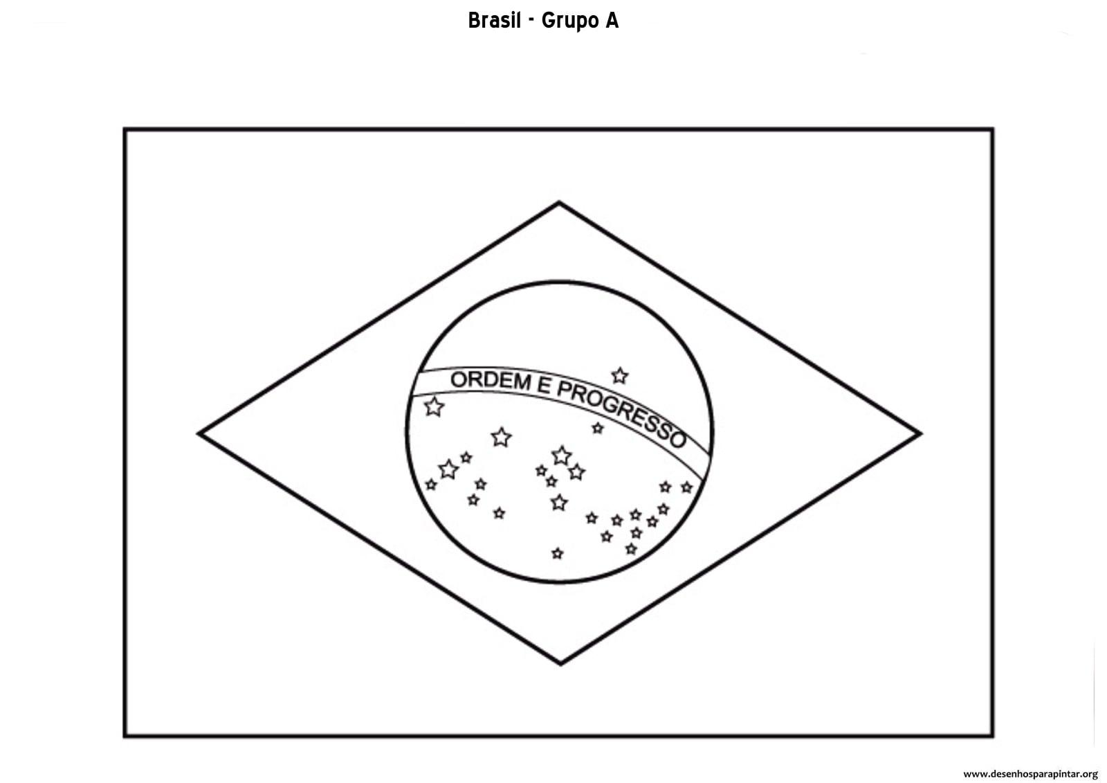 Desenho Da Bandeira Do Brasil Para Colorir E Imprimir – Pampekids Net