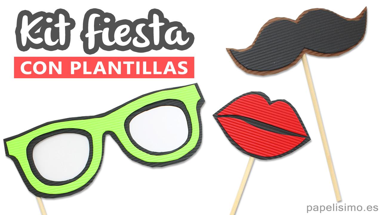 Photocall Con Plantillas Para Imprimir (gafas, Bigote Y Labios