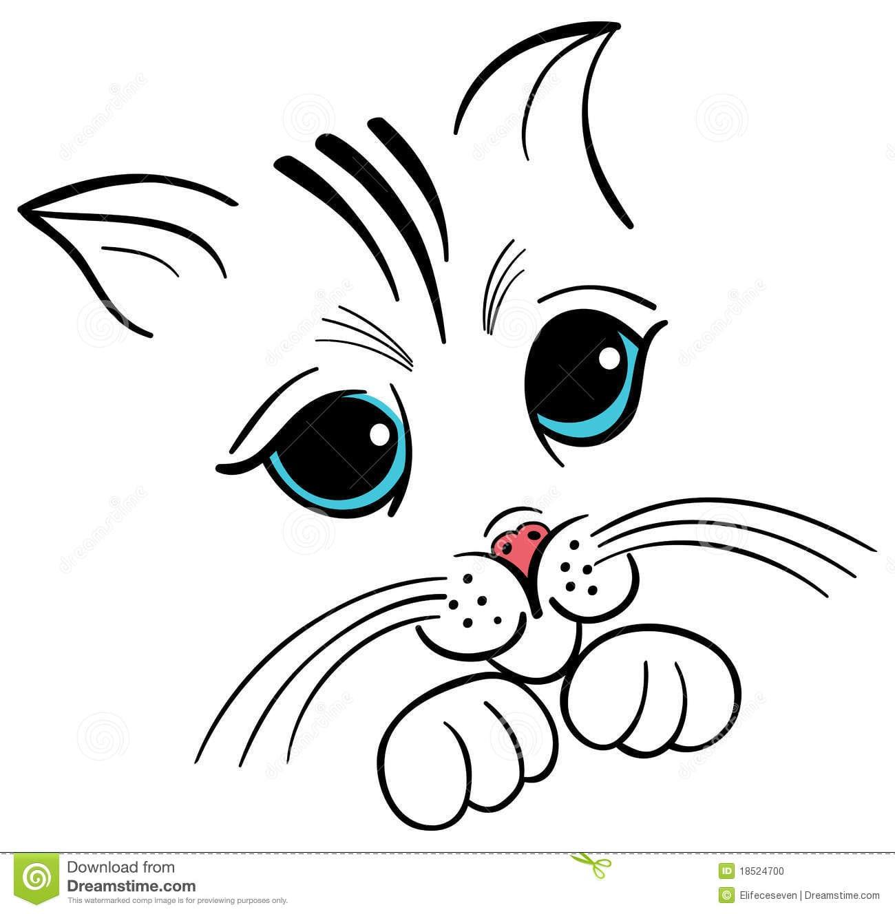 Desenho Da Face Do Gatinho Ilustração Do Vetor  Imagem De Cheerful