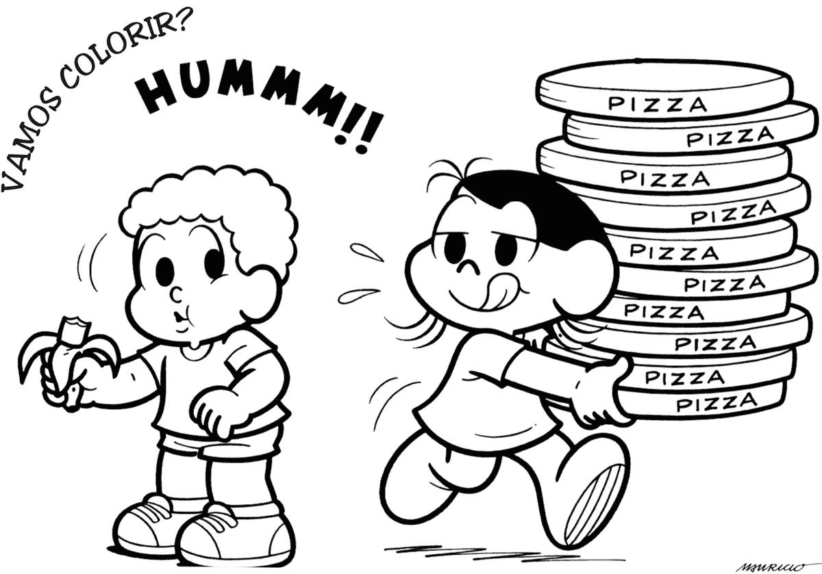 Desenho Da Magali Com Pizzas — Colorir Org