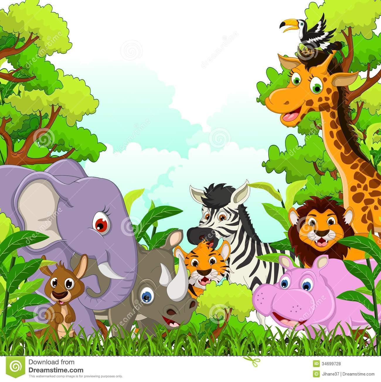 Desenhos Animados Animais Dos Animais Selvagens Com Fundo Da