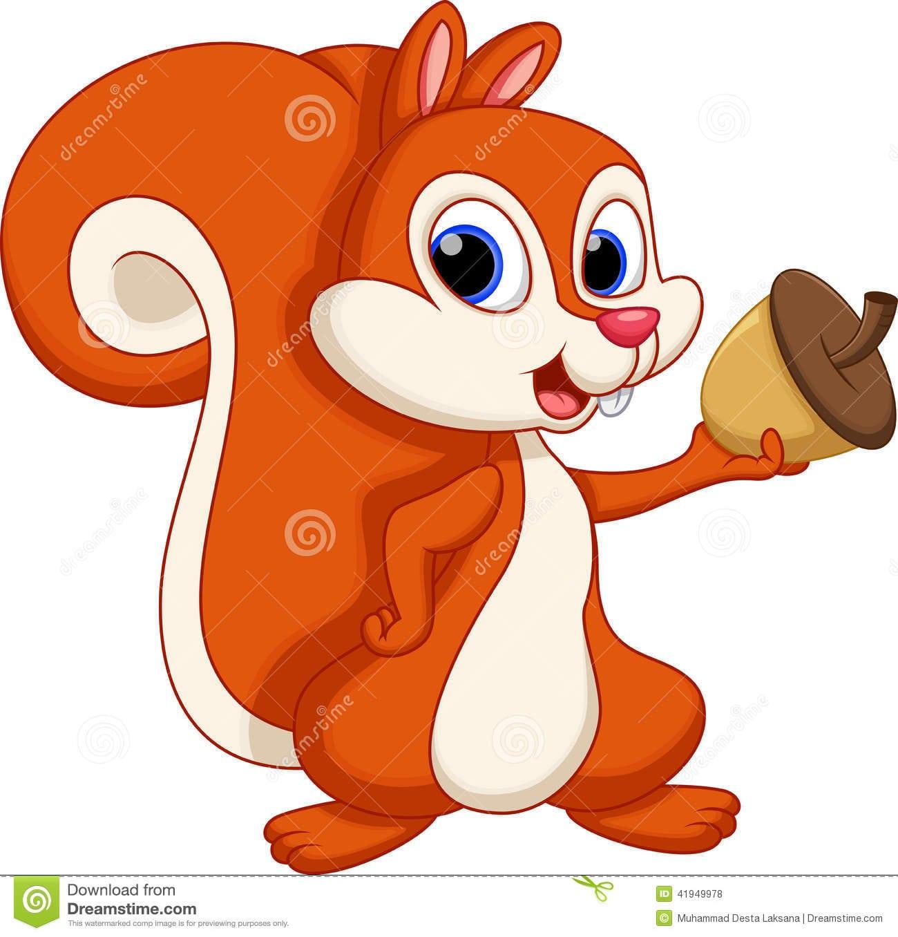 Desenhos Animados Bonitos Do Esquilo Com Um Fundo Branco
