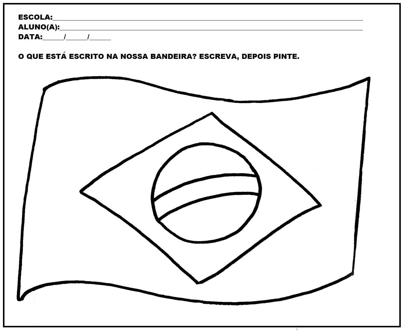 Desenho Para Colorir Da Bandeira Do Brasil