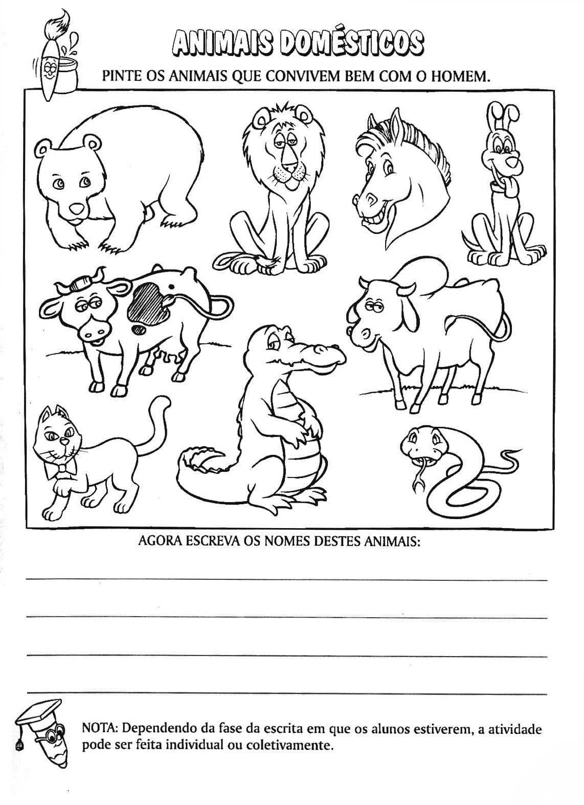 Domesticos E Selvagens 50 Atividades Exercicios Desenhos Colorir