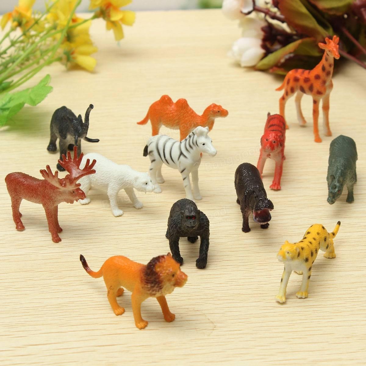 12 Pequeños Animales De Zoológico Safari De Plástico Figuras