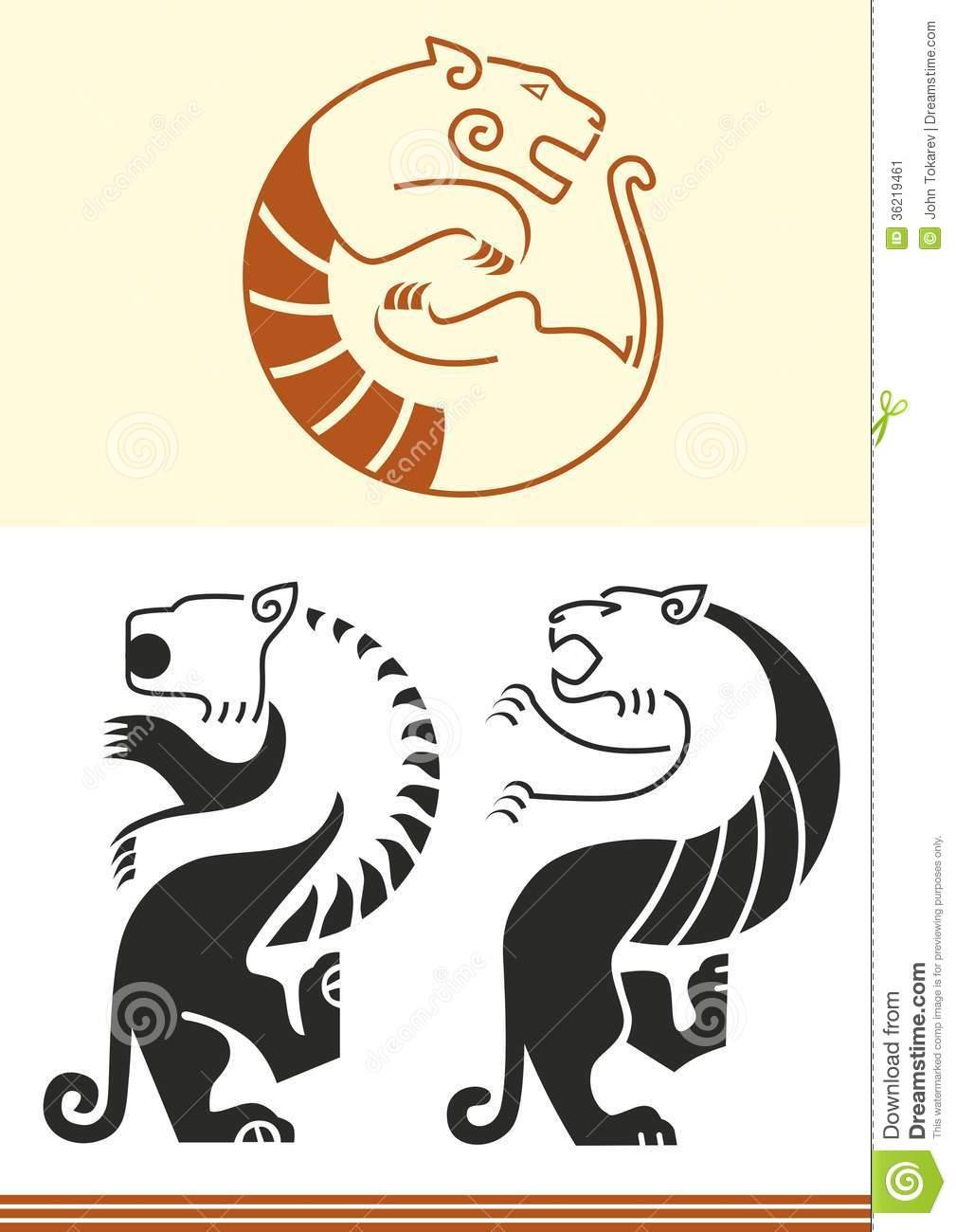 Figuras Estilizadas Del Tigre Ilustración Del Vector