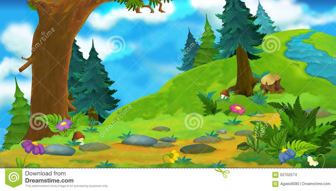 Fundo Dos Desenhos Animados De Uma Floresta Ilustração Stock