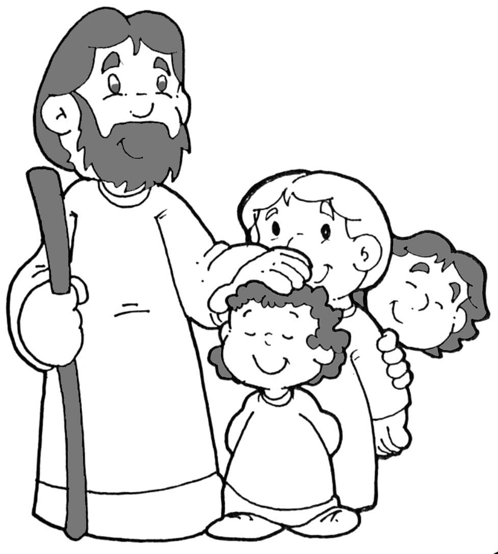 Tia Paula  Jesus E As Crianças Para Colorir