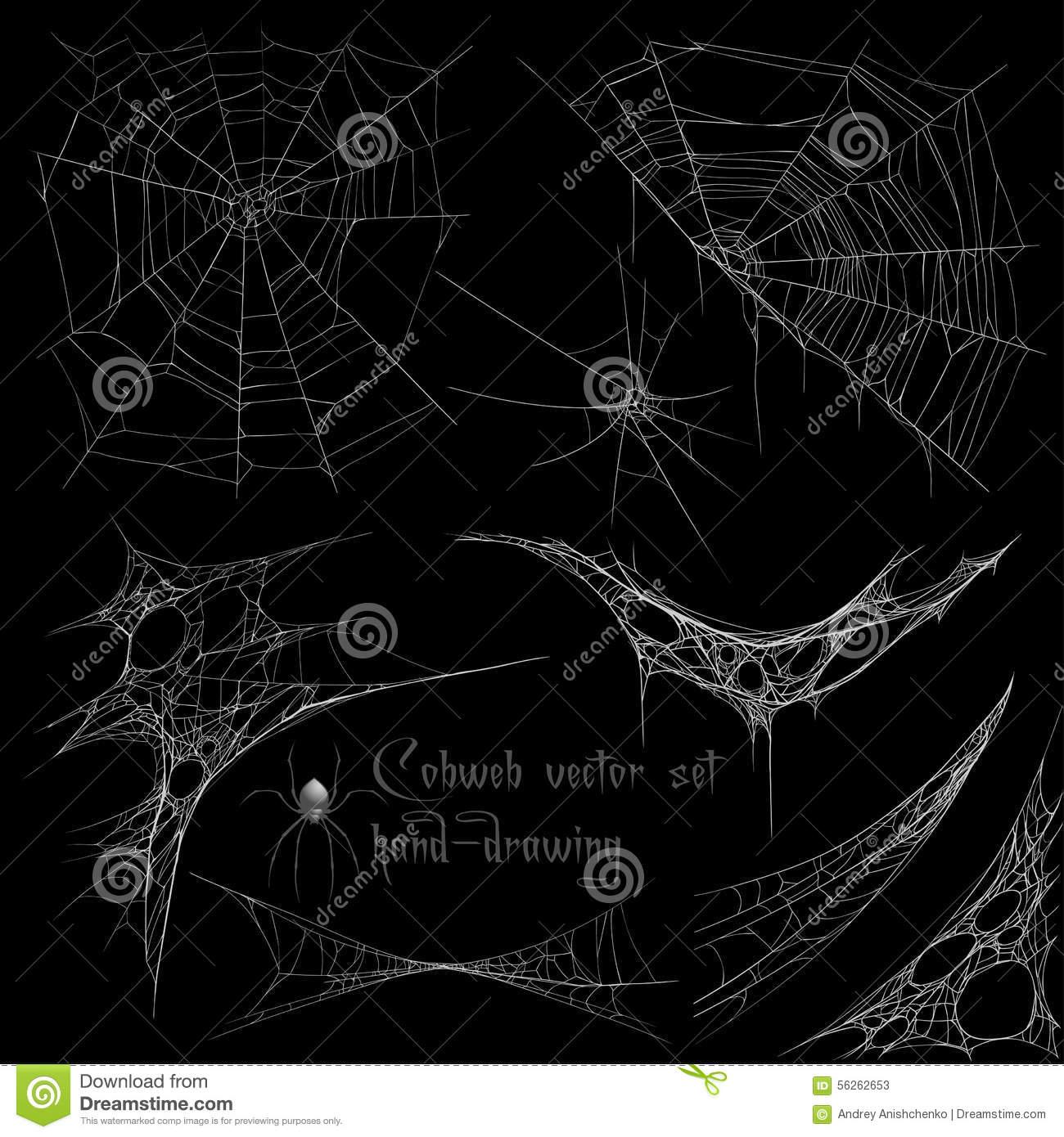 Grupo Da Teia De Aranha Do Desenho Da Mão Ilustração Do Vetor