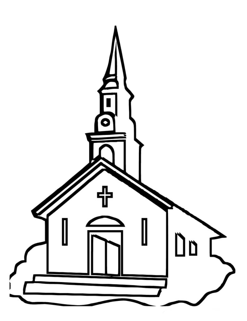 Desenho De Igreja Da Cidade Para Colorir