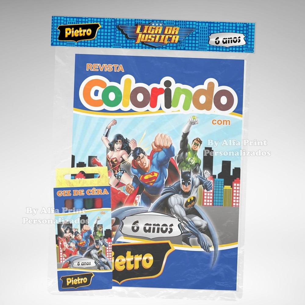 Kit Colorir Liga Da Justiça + Brindes