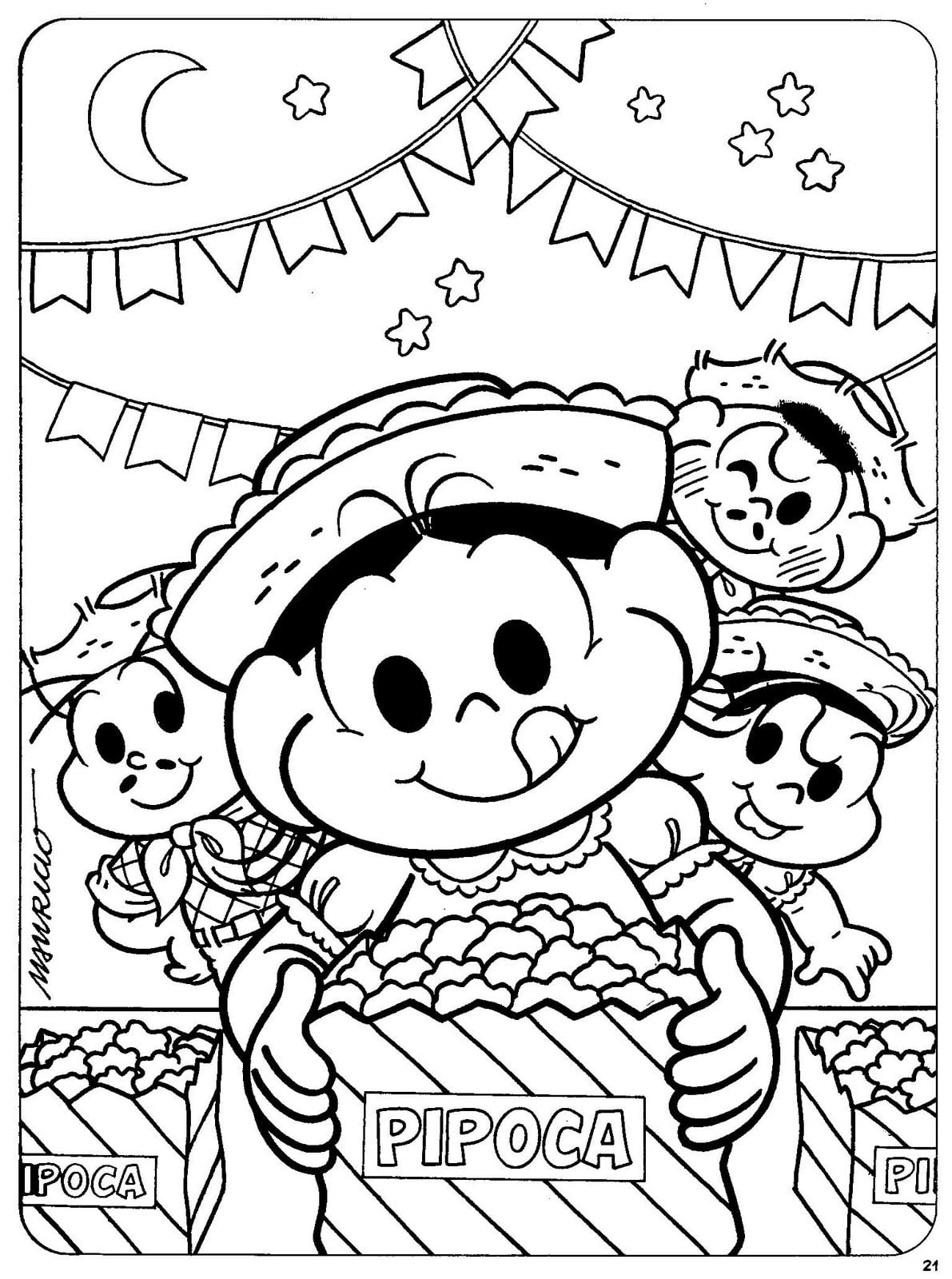 Desenho De Magali Comendo Pipoca Na Festa Junina Para Colorir
