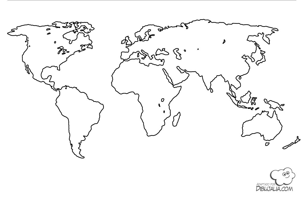 Niños De Paises Para Pintar: Mapa Mundi Continentes Para Pintar