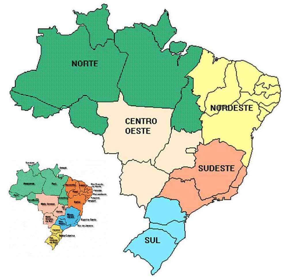 Mapa Das Regiões Do Brasil