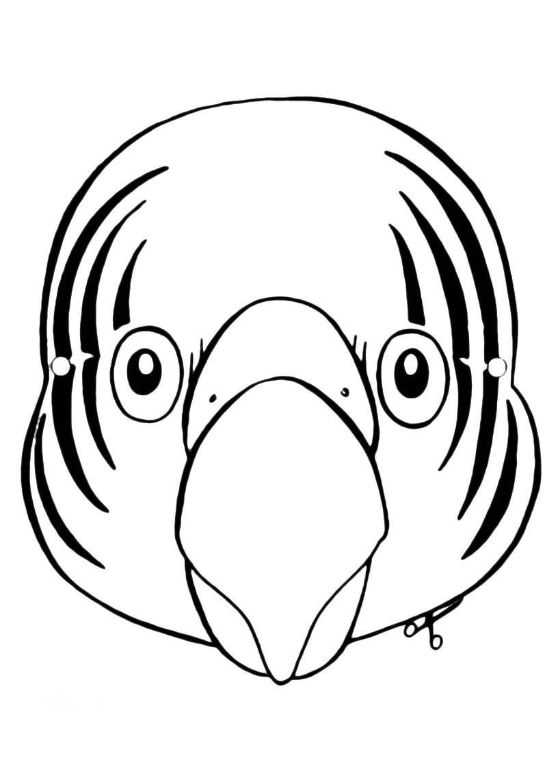 Desenho De Máscara De Papagaio Para Colorir