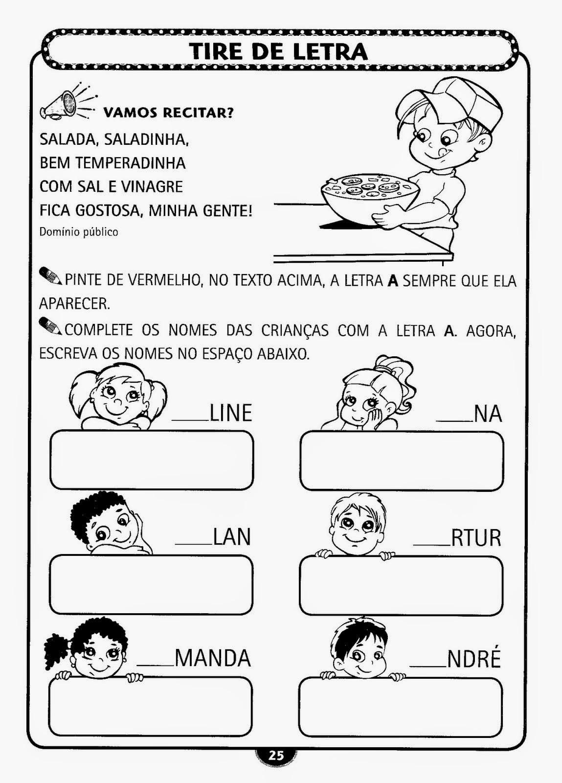 Espaço Infantil – Atividades Infantil Alfabetização Para Imprimir