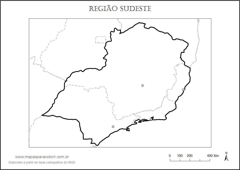 Mapa Da Região Sudeste Para Colorir