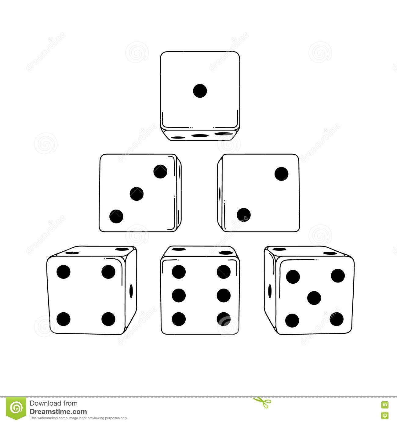 Seis Cubos Dos Dados Do Desenho