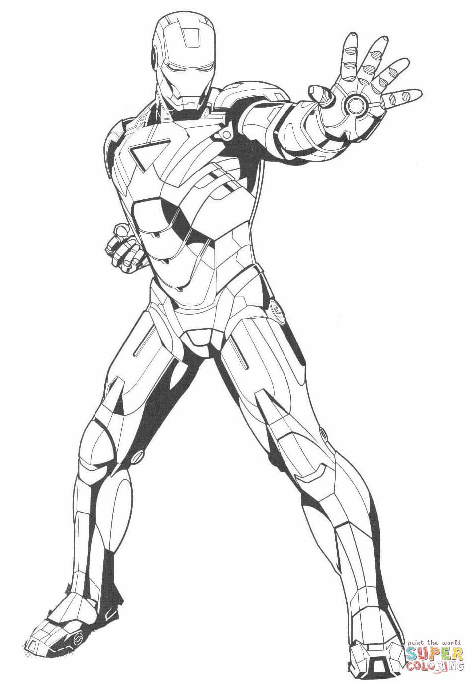 Desenho De Homem De Ferro Detém O Inimigo Para Colorir