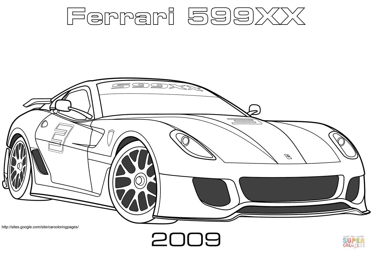 Desenho De 2009 Ferrari 599xx Para Colorir