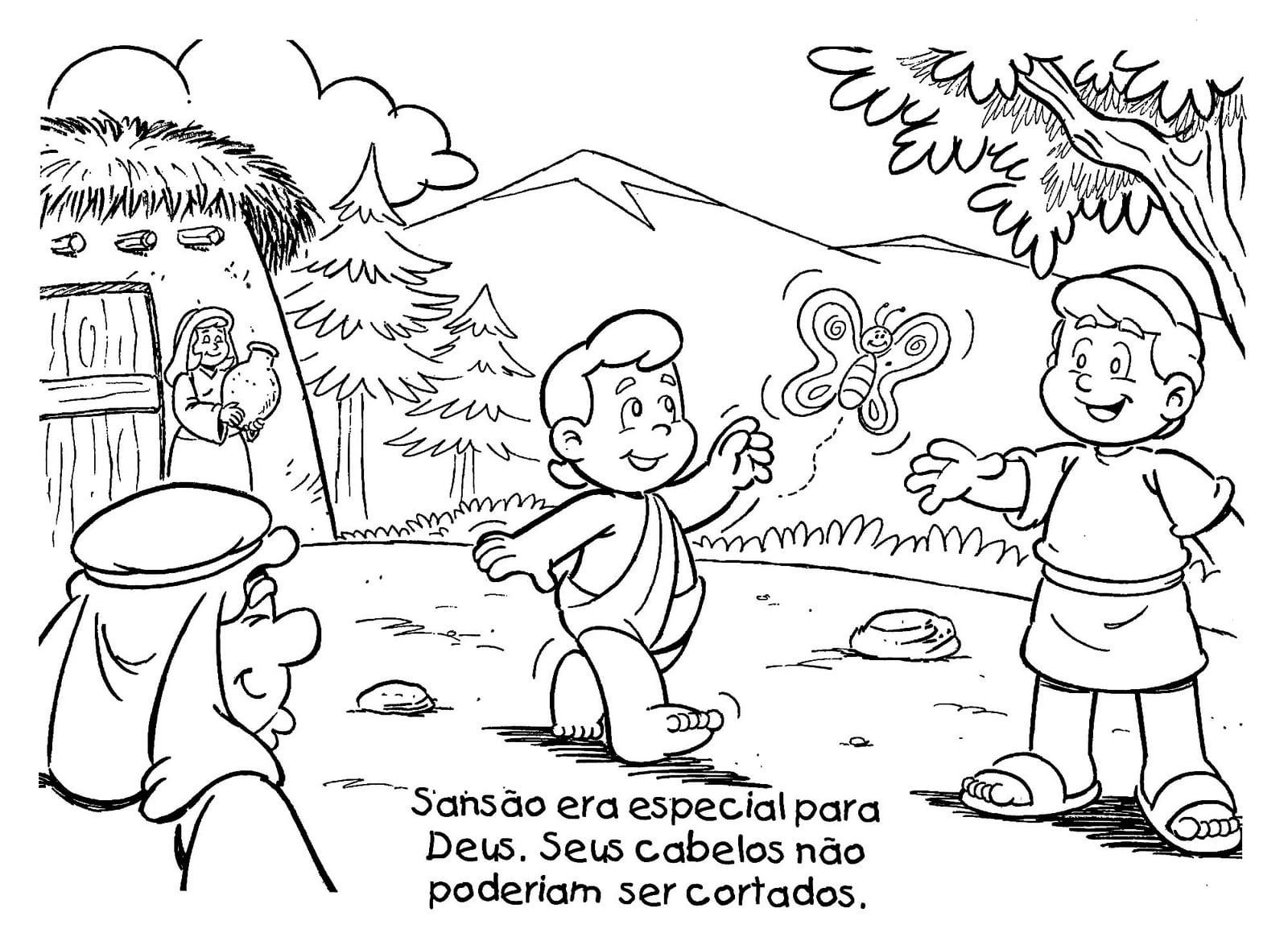 Apascentar Os Pequeninos  Sansão (p Ler E Colorir)