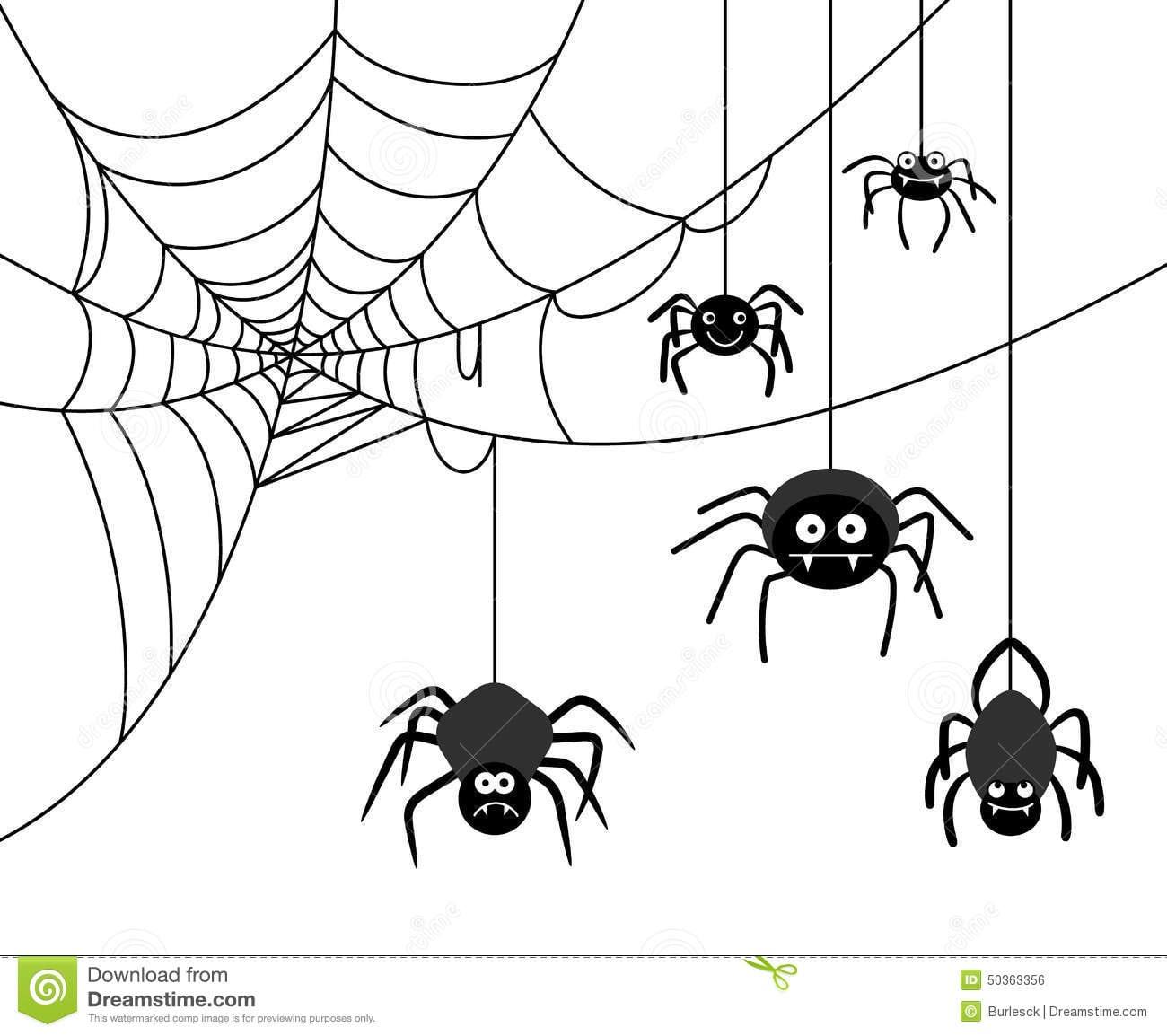 Aranha Na Teia De Aranha Ilustração Do Vetor  Ilustração De