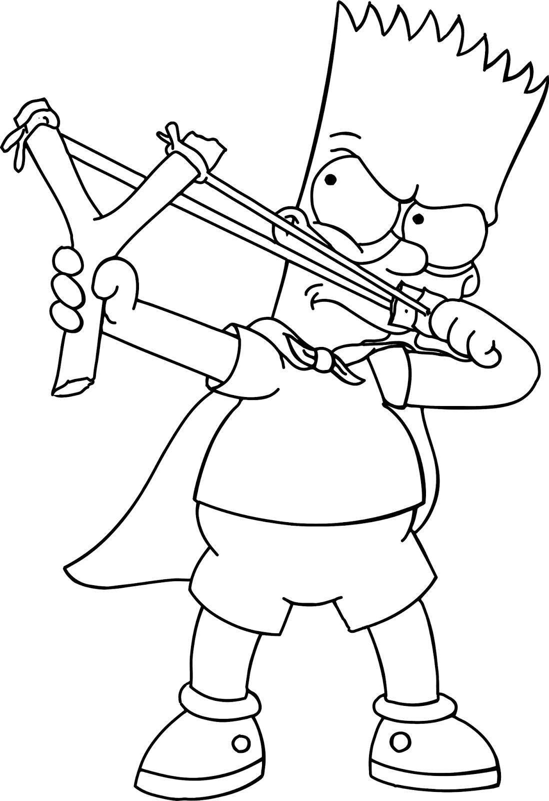 Desenho De Bart Simpson Brincando Com Estilingue Para Colorir