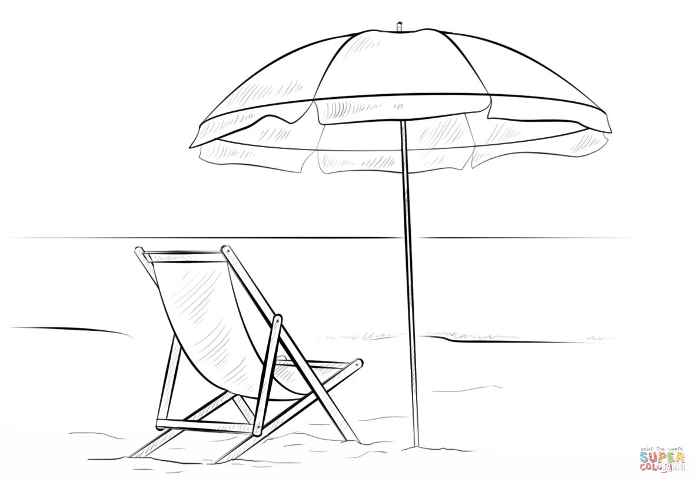 Desenho De Cadeira De Praia E Guarda