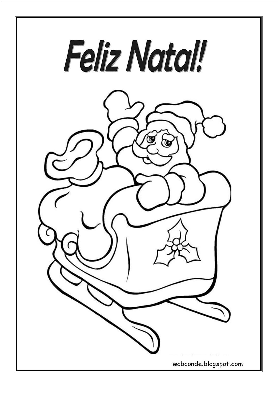 Imagens De Papai Noel No Trenó Para Colorir