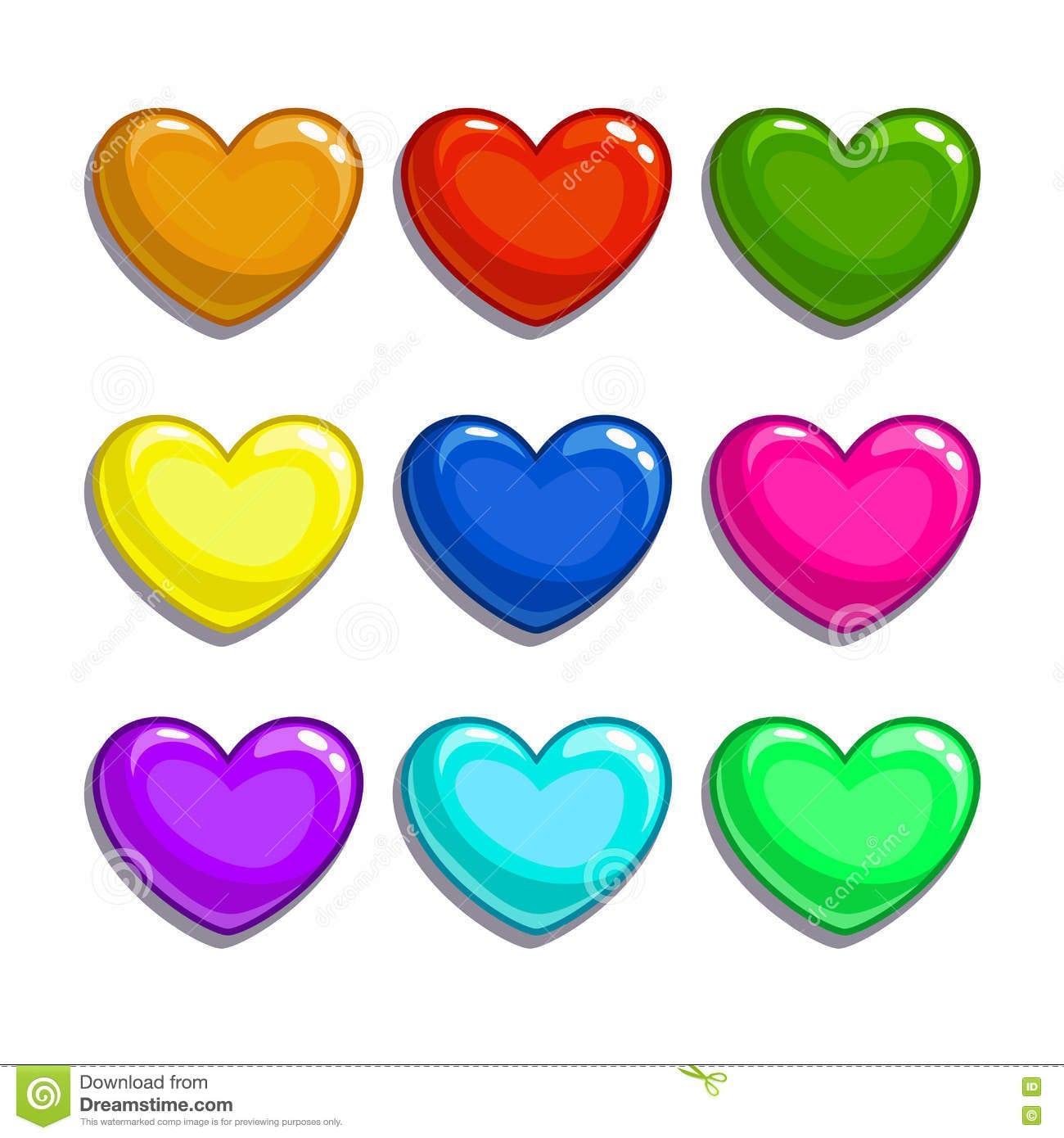 Corações Coloridos Dos Desenhos Animados Bonitos Ajustados