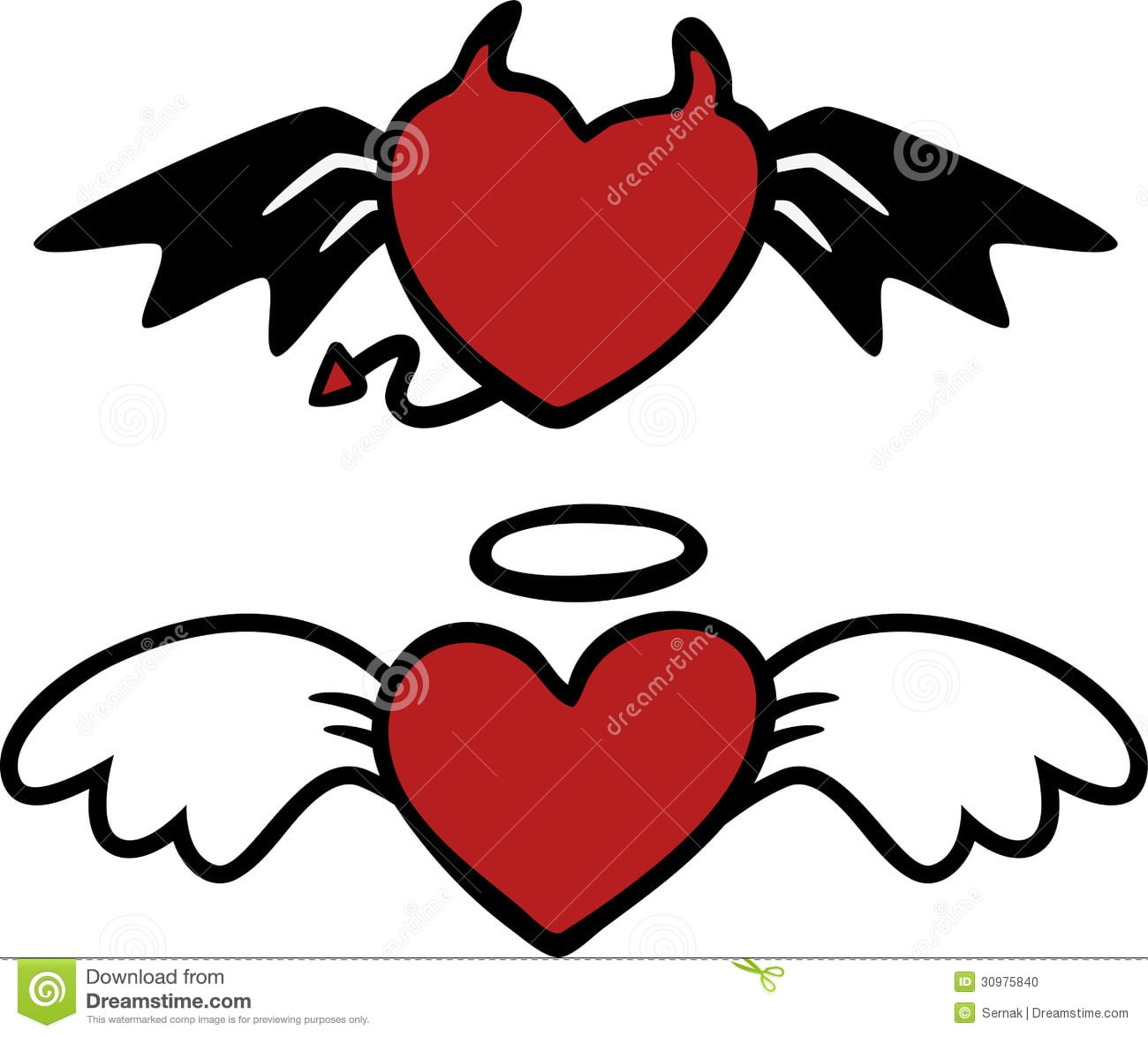 Corações Do Anjo E Do Mal Dos Desenhos Animados Ilustração Do