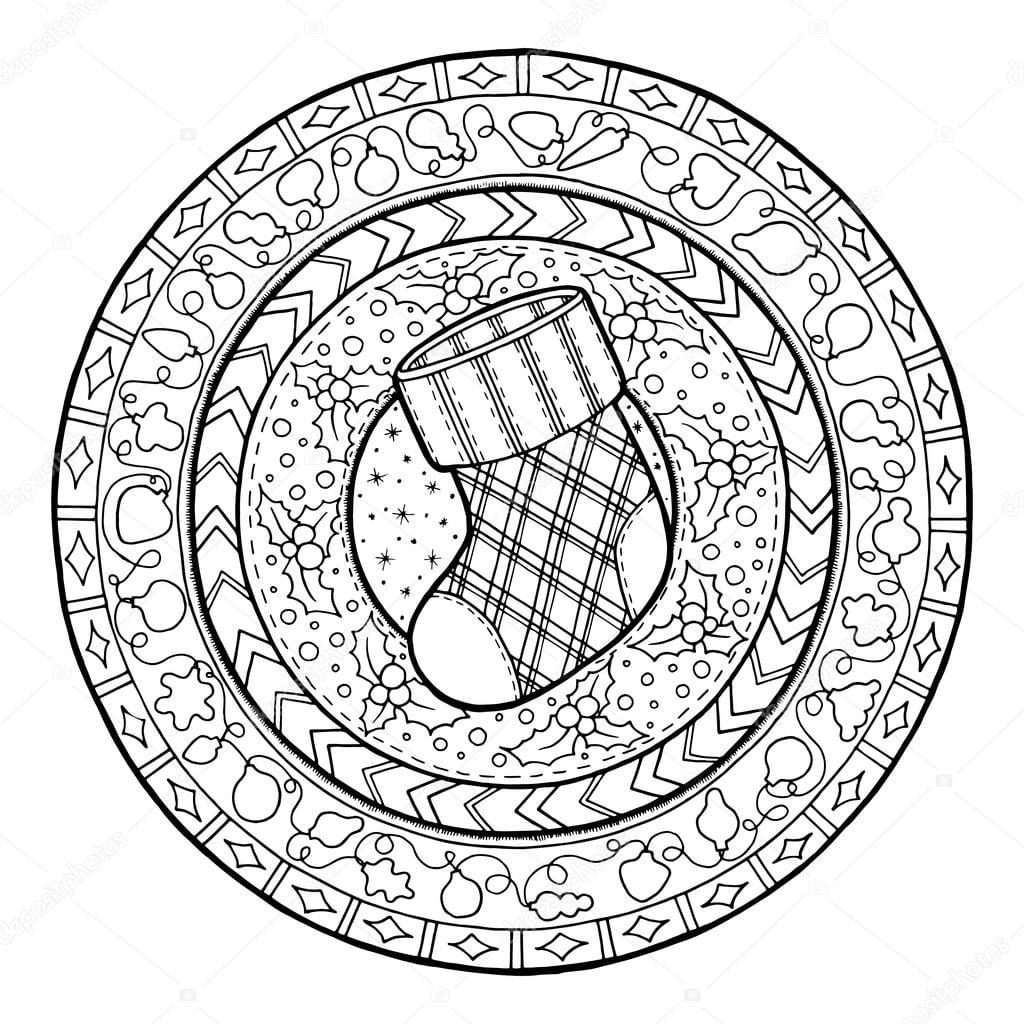 Tema De Ano Novo  Meia De Natal Doodle Na Ornamento Círculo étnico