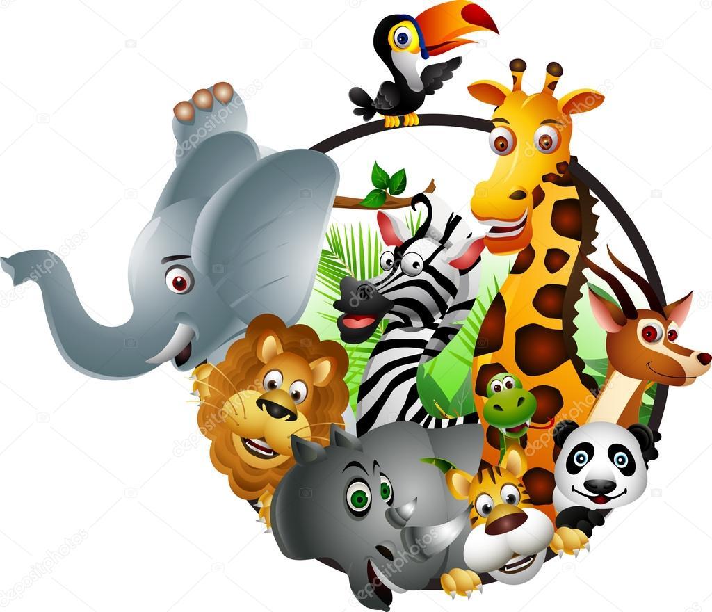 Conjunto De Desenhos Animados Animais Engraçados — Vetor De Stock